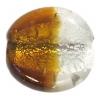 Glass Furnace Silver Foil 32x9mm Flat Round Topaz/Silver